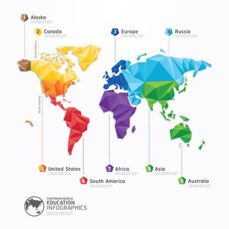 mapa del mundo de diseño ilustración concepto infografía geométrica Vectores
