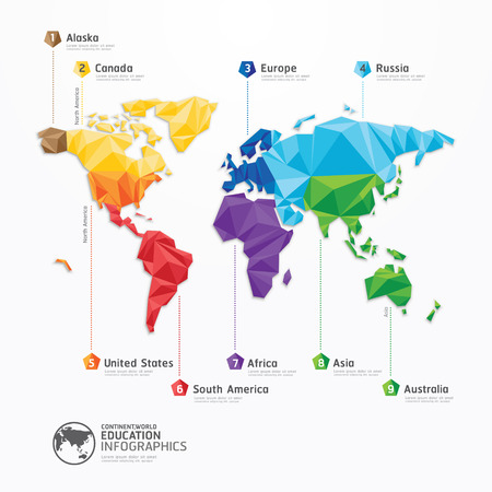business asia: mappa del mondo illustrazione infografica geometrica concetto di design Vettoriali
