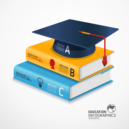 modern infographic Template with book and Graduation cap banner  can be used for infographics  banners  concept vector illustration Vector