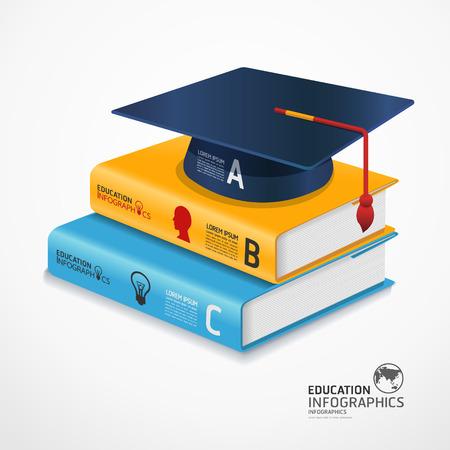 fondo de graduacion: Plantilla infograf�a moderna con el libro y la tapa de graduaci�n bandera  se puede utilizar para la ilustraci�n de infograf�a  banners  vector concepto Vectores