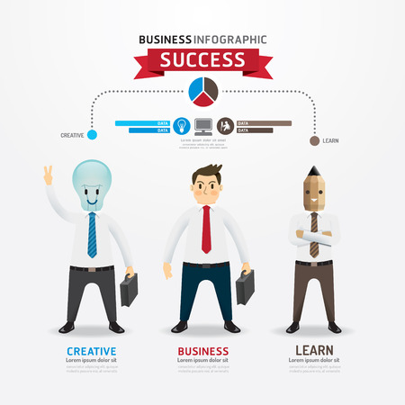 Concept of successful businessman cartoon Infographic Design.with lightbulb and pencil businessman character. Stock Vector - 27318379