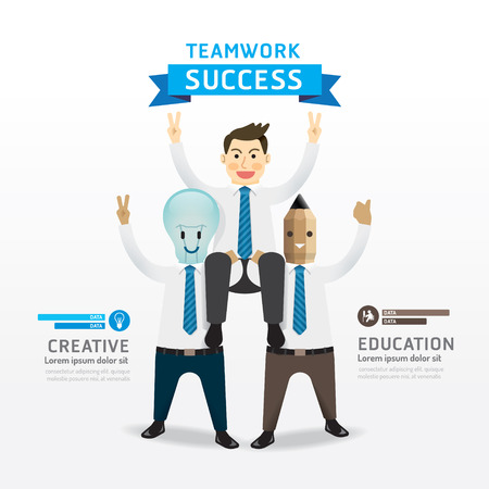 Teamwork of successful businessman cartoon Infographic Design Concept .with lightbulb and pencil businessman character. Vector