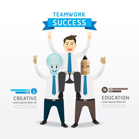 teamwork cartoon: Teamwork of successful businessman cartoon Infographic Design Concept .with lightbulb and pencil businessman character.