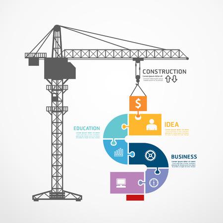 Modèle infographie avec la tour de la grue de construction puzzle bannière. concept vecteur