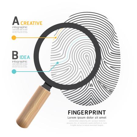 Fingerprint with magnifier vector illustration. Vector