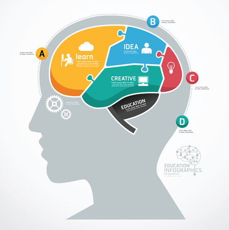 Puzzle Jigsaw Abstract Human Brain infographic Template. concept vector illustration
