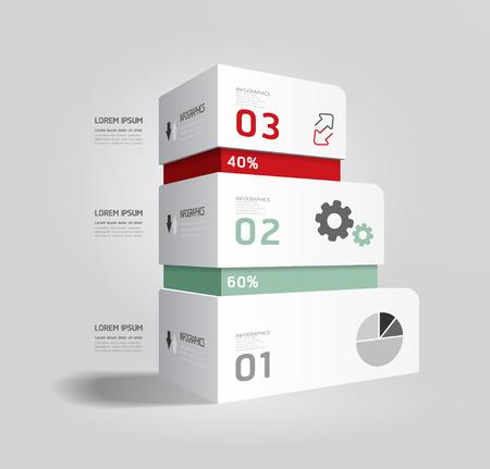 tecnologia informacion: plantilla infograf�a Dise�o Caja moderna estilo Minimal  se puede utilizar para infograf�as  banners numerados  horizontal l�neas de corte  gr�fico o sitio web de dise�o de vectores