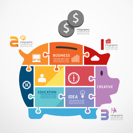 infographic Template with piggy bank jigsaw banner . concept vector illustration Vector