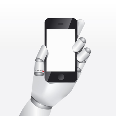 robot hand hold smartphone design vector illustration concept. Vector