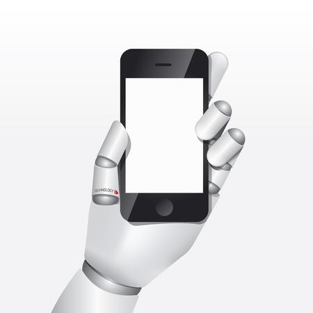 mano robotica: teléfono inteligente espera robot mano ilustración vectorial de diseño conceptual.