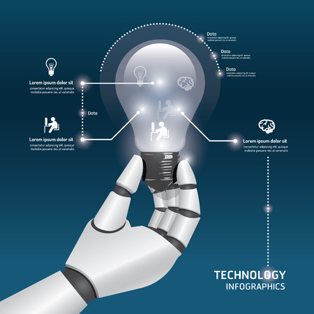 infographic Template with robot hand hold Light bulbs design vector illustration concept.