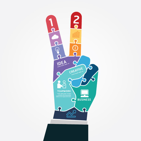 infographic Template victory finger business jigsaw banner . concept  Vector