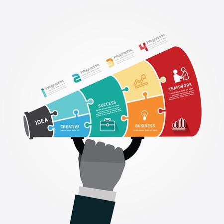 Modèle infographie avec le mégaphone puzzle bannière. concept vecteur Illustration