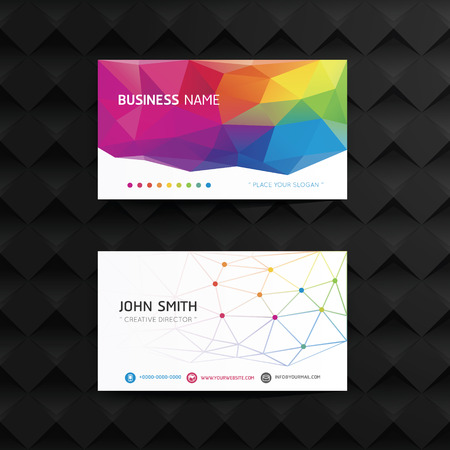 Vector modern geometric creative business card template. Vector