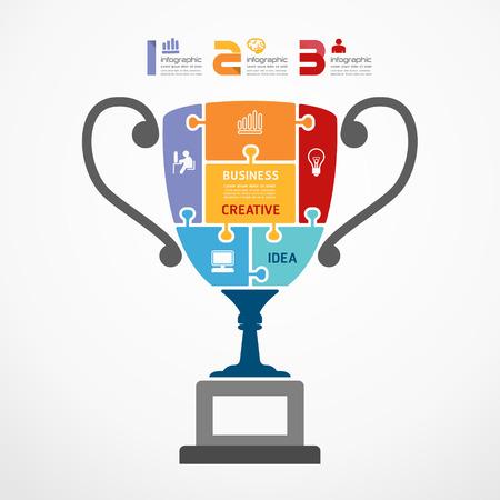 trofeo: Plantilla infograf�a con el trofeo de la bandera rompecabezas. concepto de ilustraci�n vectorial