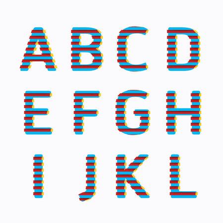 alphabet modern paper line colour concept style Design. Vector illustration. Vector