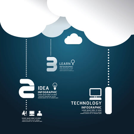 Infographic technology cloud paper cut style  template concept.vector illustration Vector
