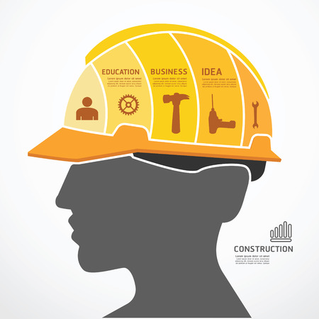 construction paper art: infographic Template with construction concept jigsaw banner . vector illustration Illustration