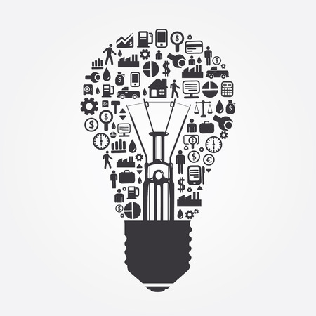 Elements are small icons Finance make in Light bulbs concept  Vector illustration  Illustration