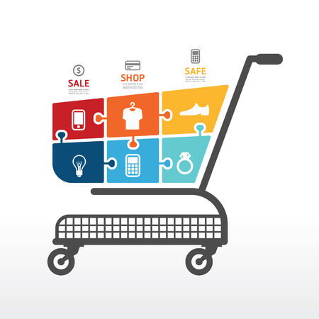 cart: infographic Template with Shopping cart  jigsaw banner   concept vector illustration