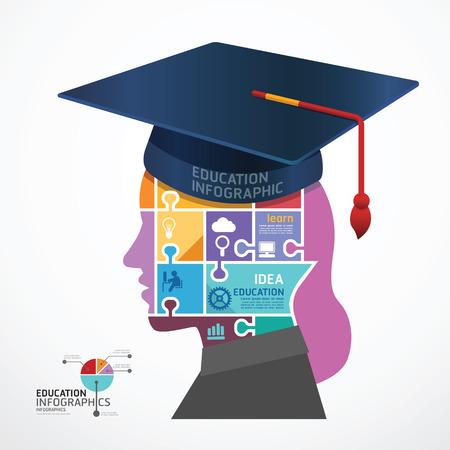 gorro de graduacion: Casquillo de la graduaci�n Plantilla infograf�a con la ilustraci�n bandera rompecabezas Head vector concepto