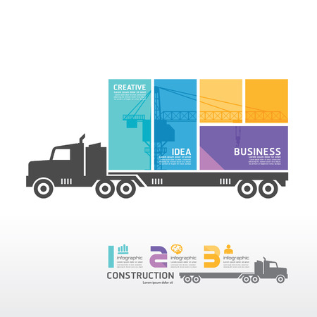 infographic Template with Container truck banner   concept vector illustration