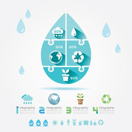 ahorrar agua: Ilustración de agua del diseño ecología elementos Infografía Jigsaw Concept Vector