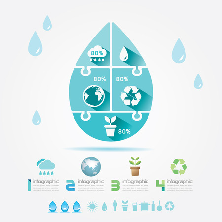 Water Design Elements Ecology Infographic Jigsaw Concept Vector Illustration  Vector