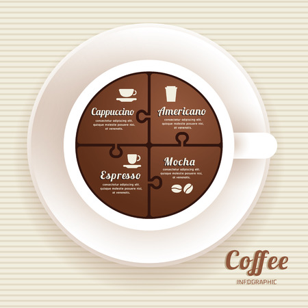 Infographic Template with Coffee Cup Jigsaw banner . concept vector illustration Vector