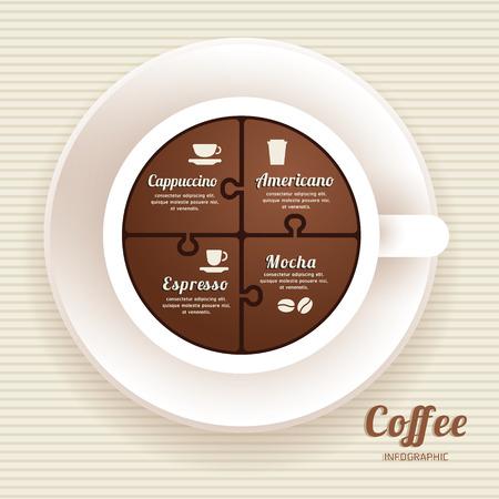 copas: Plantilla Infograf�a con la taza de caf� Jigsaw bandera. concepto de ilustraci�n vectorial Vectores