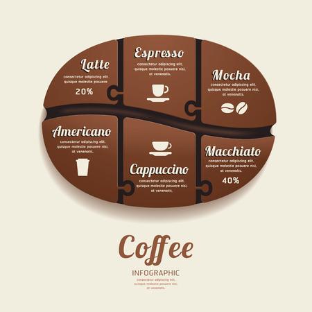 kavram ve fikirleri: The Coffee Bean Jigsaw bayrağı ile Infographic Şablon. kavramı vektör çizim Çizim