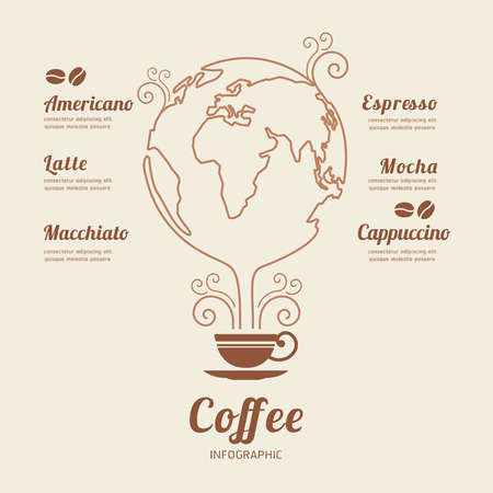 Coffee world Infographic Template  banner . concept vector illustration