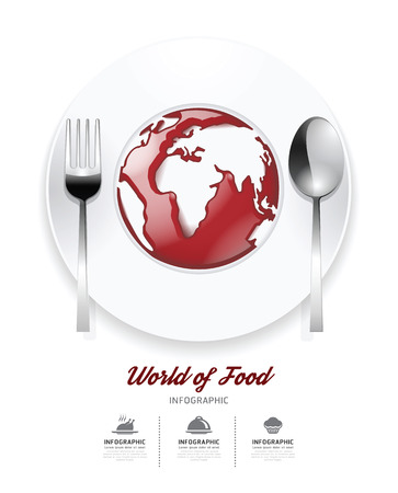 Infographic world of food Design template. tomato sauce on world shape concept.vector illustration Vector