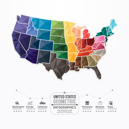 Estados unidos Mapa Plantilla Infografía bandera concepto geométrico. ilustración vectorial Vectores