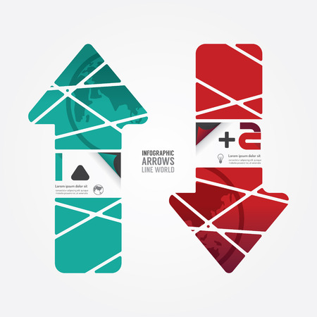 Arrows line world red and terqoice color  can be used for infographics  numbered banners  graphic or website layout vector Vector