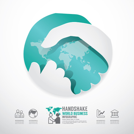business handshake business with world paper style  template   can be used for infographics graphic or website layout vector Vector