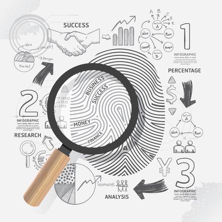 Business Fingerprint doodles line drawing success strategy plan idea with magnifier.Vector illustration.Focus Success Concept.