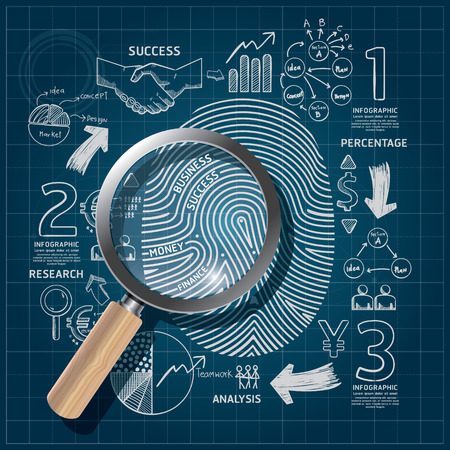 fingerprint: Business Fingerprint doodles line drawing blueprint success strategy plan idea with magnifier.Vector illustration.Focus Success Concept.