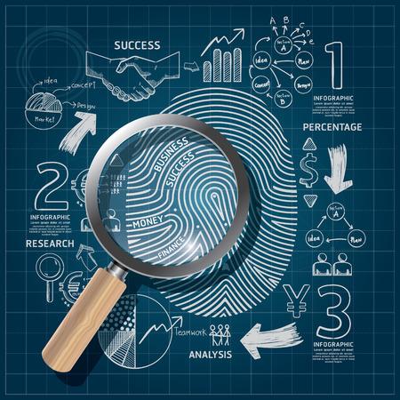 Business Fingerprint doodles line drawing blueprint success strategy plan idea with magnifier.Vector illustration.Focus Success Concept.