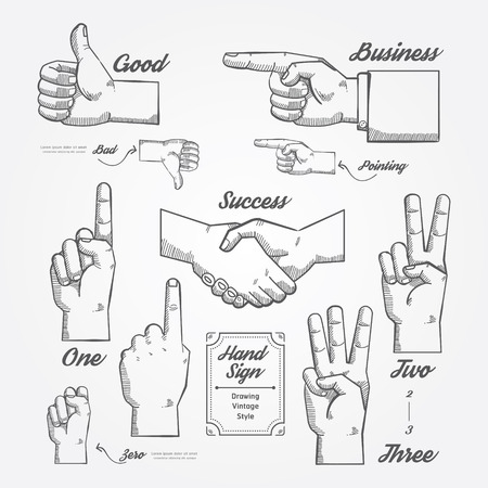 Hand and Finger sign doodle drawn on chalkboard background.Vector vintage style  Vector