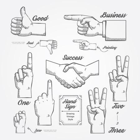 victory symbol: Hand and Finger sign doodle drawn on chalkboard background.Vector vintage style  Illustration