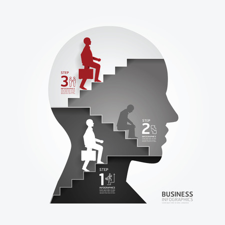 businessman up the Ladder paper cut style template   can be used for infographics graphic or website layout vector Vector
