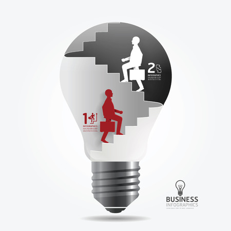 businessman up the Ladder paper light bulb cut style template   can be used for infographics graphic or website layout vector Vector