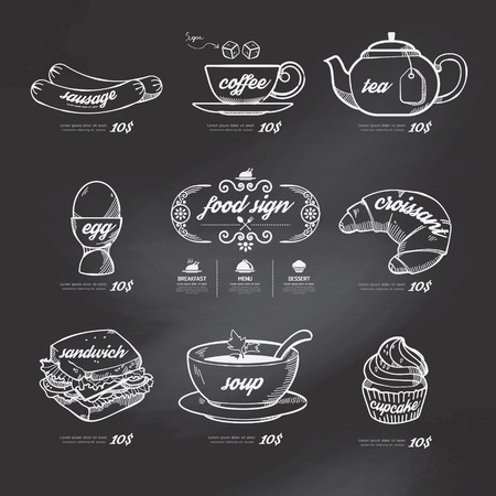 menu icons doodle drawn on chalkboard background .Vector vintage style  Ilustração