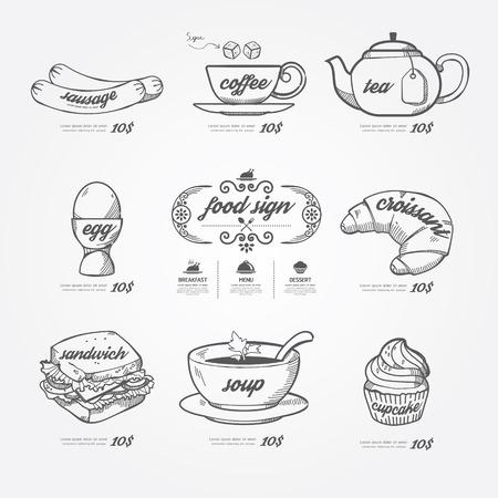 iconos del menú garabato dibujado en el fondo de pizarra. estilo de la vendimia Vector
