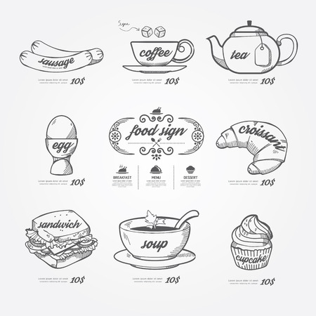 menu icons doodle drawn on chalkboard background .Vector vintage style  Illustration