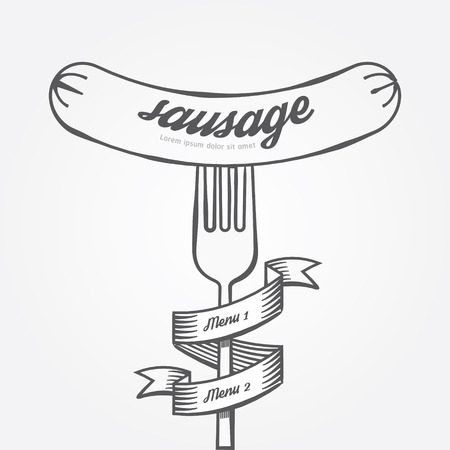 main board: Sausage menu doodle drawn background.Vector vintage style Illustration