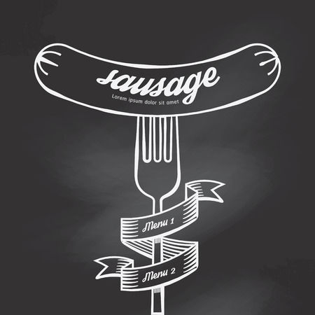 main course: Sausage menu doodle drawn on chalkboard background.Vector vintage style