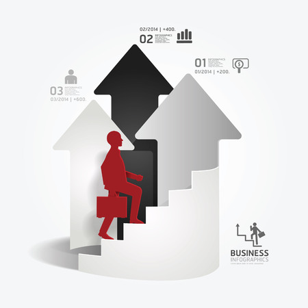 businessman up the Arrow Ladder paper cut style template   can be used for infographics graphic or website layout vector Vector