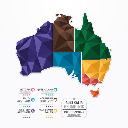 オーストラリア地図インフォ グラフィック テンプレート幾何学概念バナー ベクトル イラスト